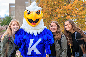 Current Kirkwood students with Sammy the Eagle
